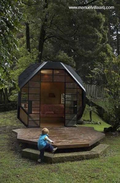 arquitectura de casas peque a caba a geom trica de madera