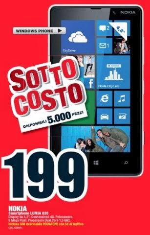 Tornano le offerte a prezzo sottocosto da Mediaworld e tra queste troviamo il Nokia Lumia 820 a 199 euro