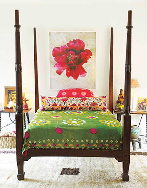 Bedroom, fabrics, interior, eclectic, exotic
