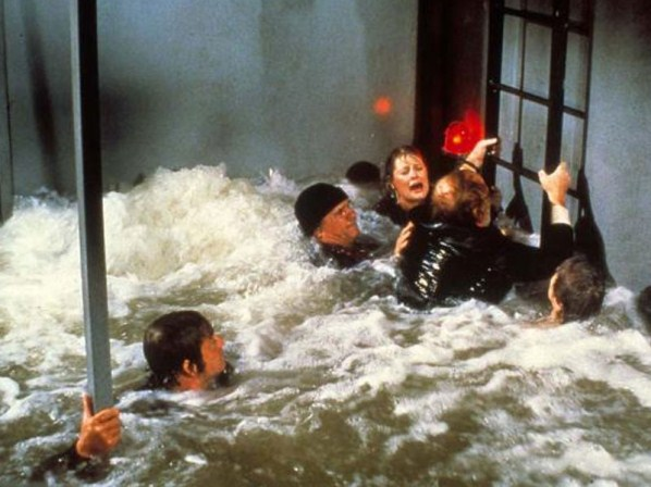 water rushing in and almost drowning Gene Hackman, Ernest Borgnine and the others