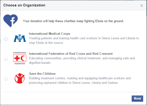 Help Stop Ebola through Facebook