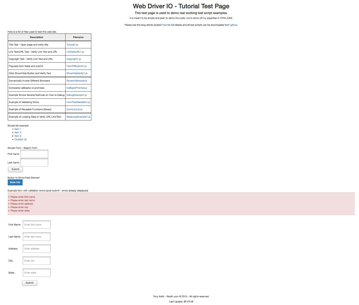 Example web site