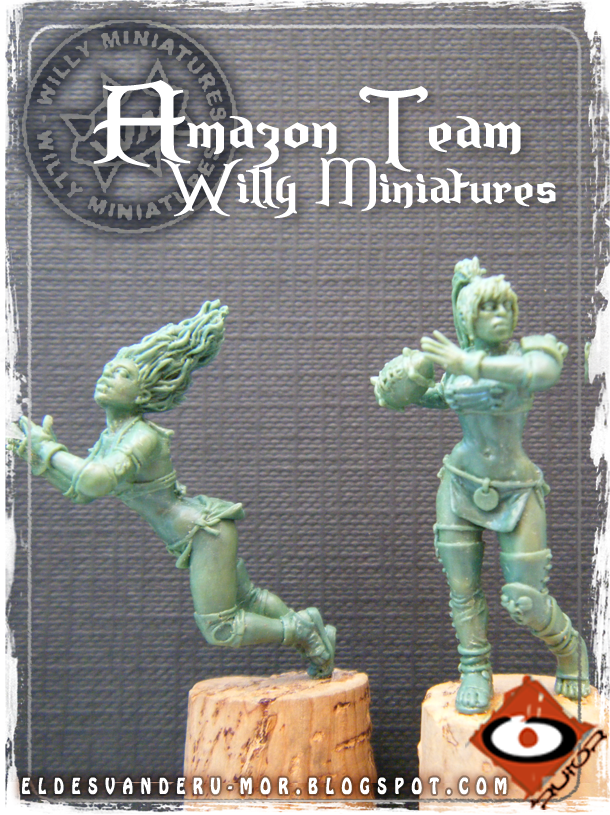 Foto de varias miniaturas del Equipo Blood Bowl de Amazonas de WILLY Miniatures hechas por ªRU-MOR. Catcher and thrower, fantasy football