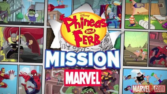 Mission Marvel Logo showing Phineas, Ferb and Marvel Superheroes