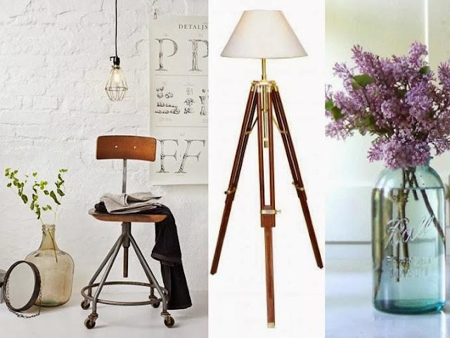 estilo industrial lamparas tripode y lilas en bote vintage