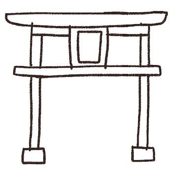 鳥居のイラスト(お正月) 線画