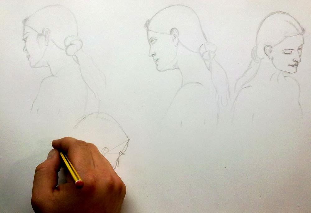 tres puntos de vista de una cabeza