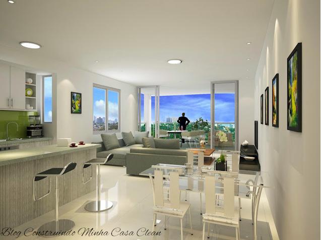 Sala De Estar Clin ~ Construindo Minha Casa Clean 21 Salas Integradas Pequenas Lindas