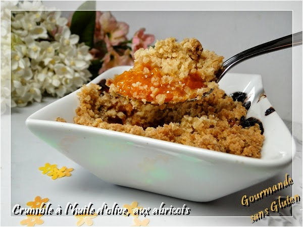 crumble sans gluten à l'huile d'olive aux abricots
