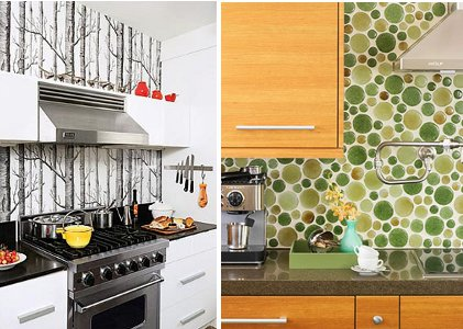 See How Great A Wallpaper Backsplash Can Look They Even Make Some Papers That Look Like Tile