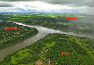 Argentina, Paraguay and Brazil River Country Border Triangle