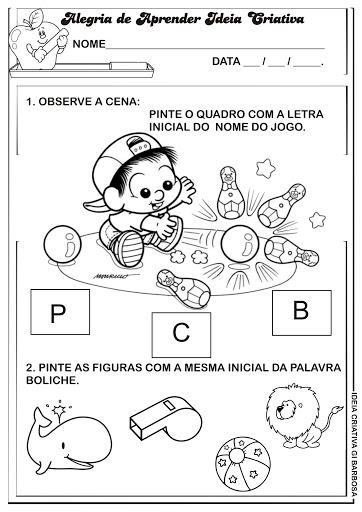 Atividade Letra B Turma da Mônica Baby