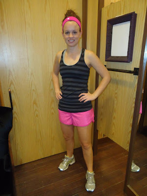 lululemon paris pink speed shorts and black macro micro stripe cool racerback tank