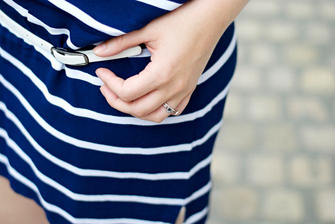 white belt blue striped summer dress