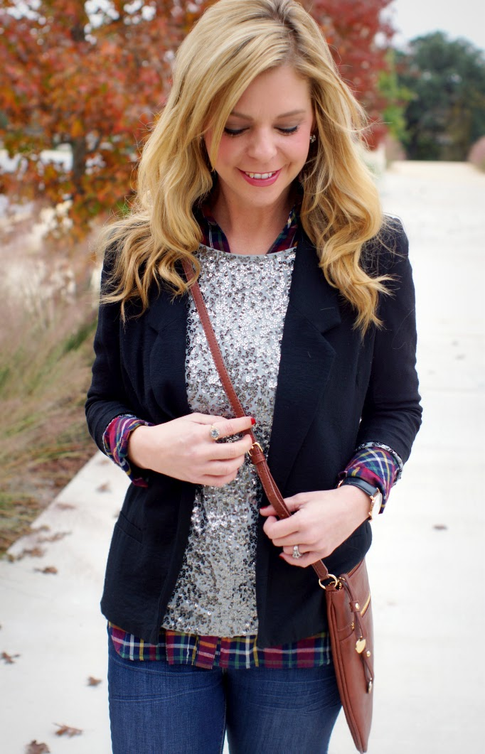 layering for the fall and winter sequins and stripes mixed