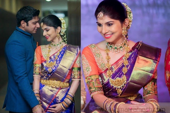Bride in Purple Wedding Saree