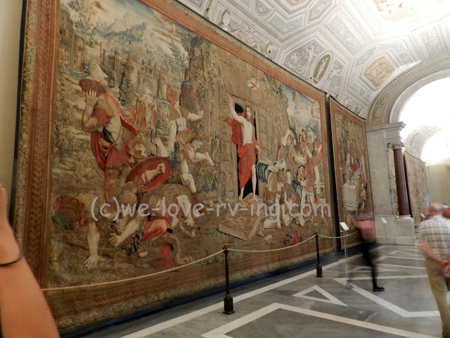 These walls are covered by large tapestries at the Vatican Museum