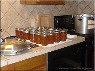 home canned chili and spaghetti sauce with meat just out of the pressure canner