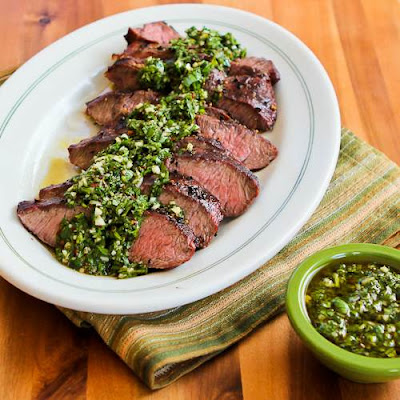 Indoor Grilling…Grilled Hanger Steak with Chimichurri Sauce