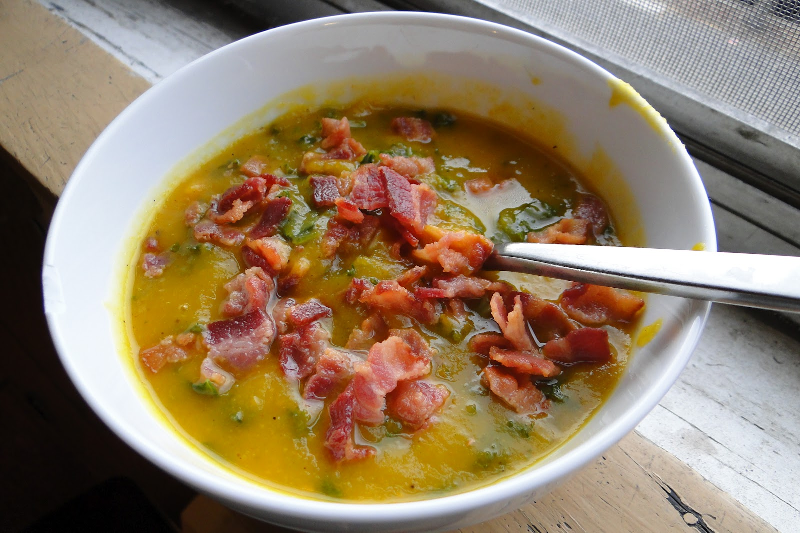 Food for Karen: Acorn Squash soup with Kale and Bacon: