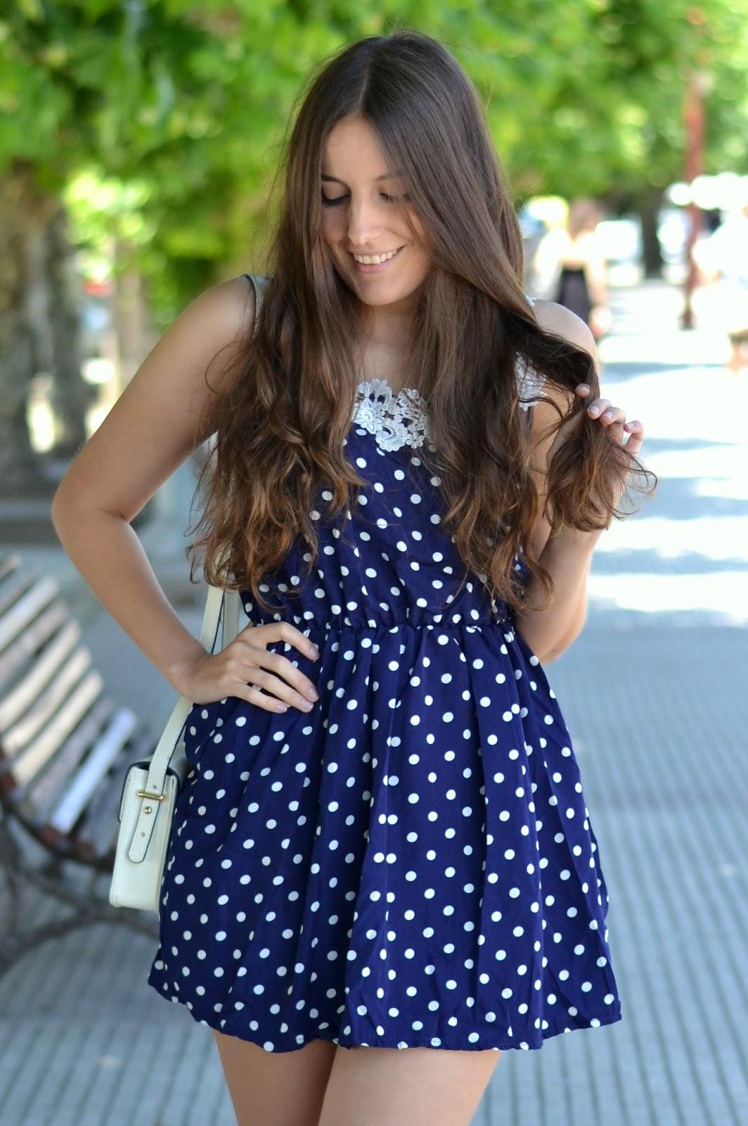 dressgal polka dots blue dress