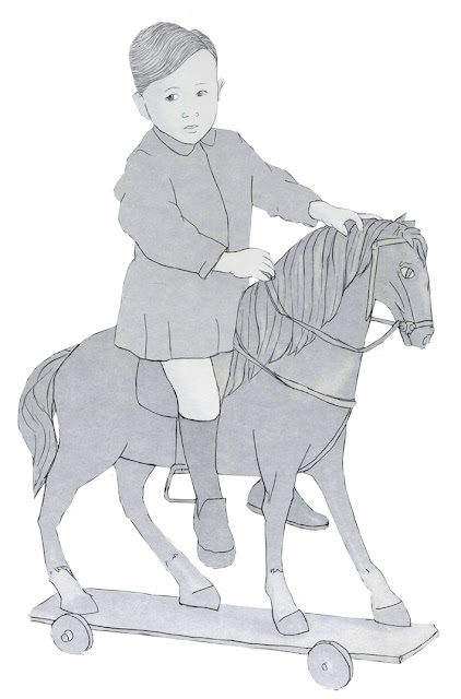 caballo de carton, niño, años 20. dibujo