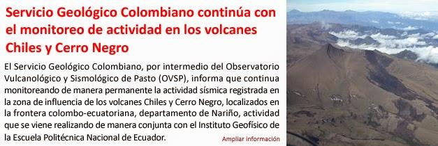 COLOMBIA: ORDENAN EVACUACION POR RIESGO DE ERUPCION DE LOS VOLCANES CHILES Y CERRO NEGRO