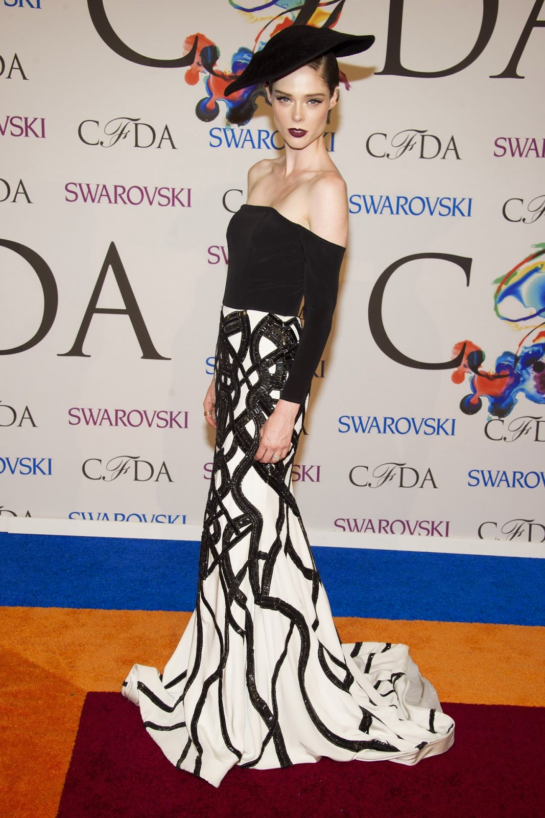 Coco Rocha in an off shoulder Christian Siriano gown at the 2014 CFDA Fashion Awards