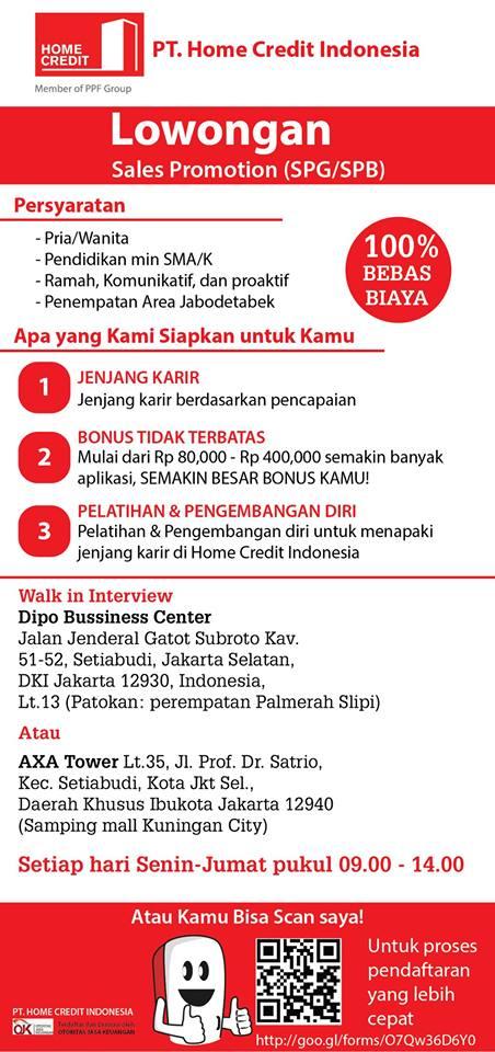 Lowongan Kerja PT.Home Credit Indonesia (SPG/SPB) Juli 2015