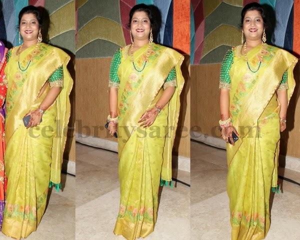 Pretty Women Lemon Green Uppada Sari