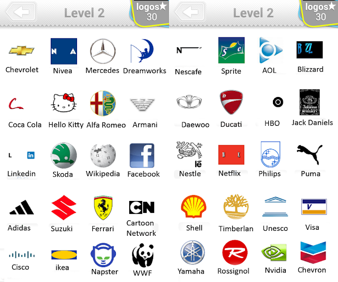 All the answers for Level 2 pack of Logo Quiz. Here is the list with