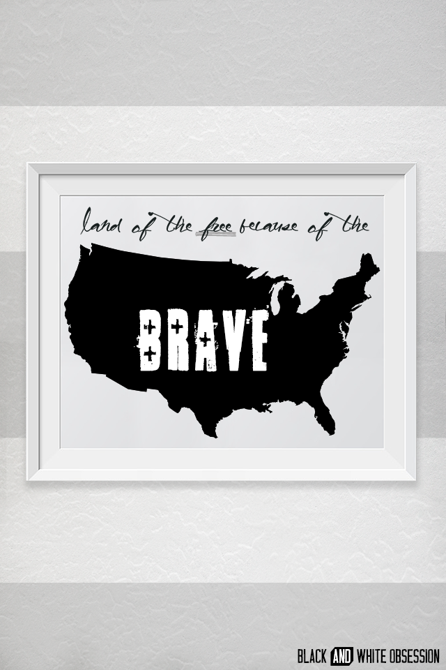 Land of the Free because of the Brave Free Printable (Summer Hop) | www.blackandwhiteobsession.com #freebie #free_printable