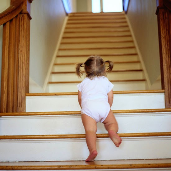 Beau Toddler Climbing Up Stairs
