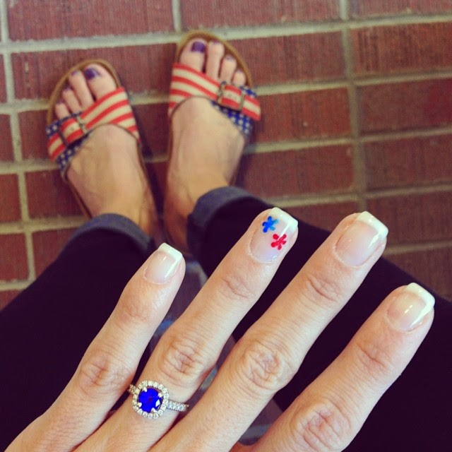 4th of July French Tip, OPI Gel Axxium white French tip nail polish