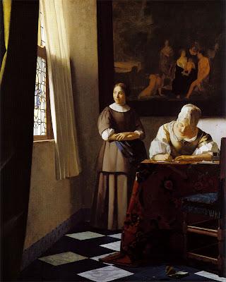 Dame écrivant une lettre et sa servante 1675 Vermeer