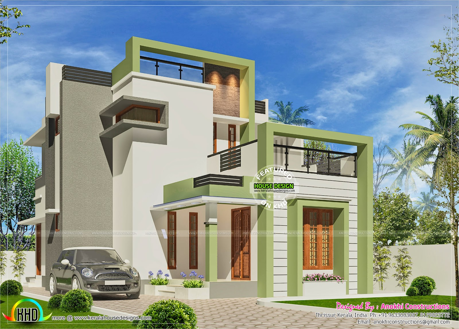 Simple small budget contemporary home kerala home design for Simple small modern house