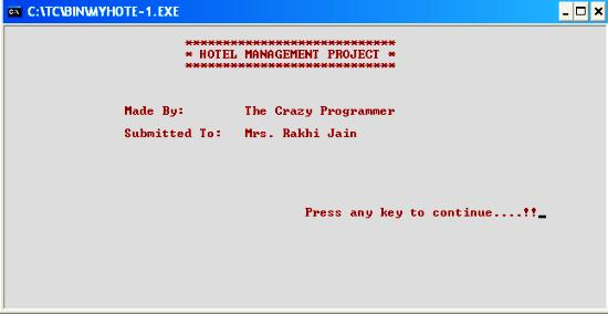 C++ Hotel Management Project