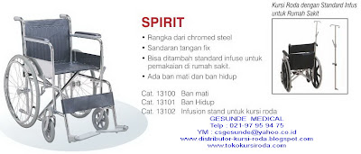 Gambar kursi roda spirit yang ada tiang infusnya