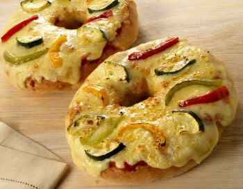 Roasted Vegetable Bagel Pizza