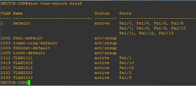 Switch-ISP (show vlan-switch brief)
