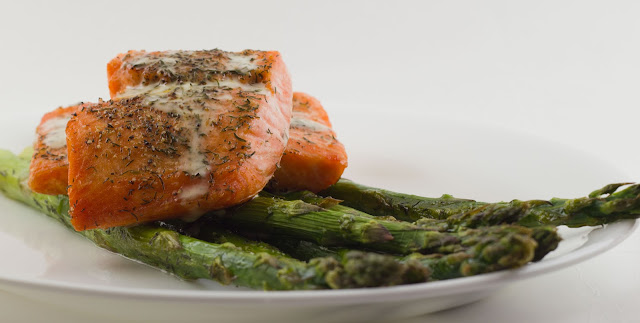 Roasted Salmon and Asparagus with lemon dill sauce