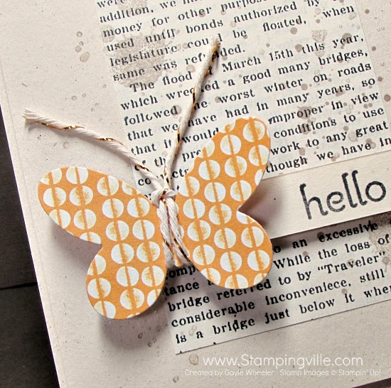 Patterned paper butterfly (punched or die cut) with gold baker's twine. #cardmaking #papercrafts #StampinUp