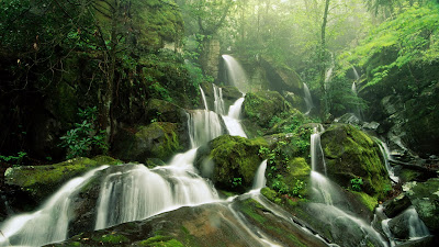 Beautiful Clear Water Fall Natural Background Wallpaper For Laptop Widescreen