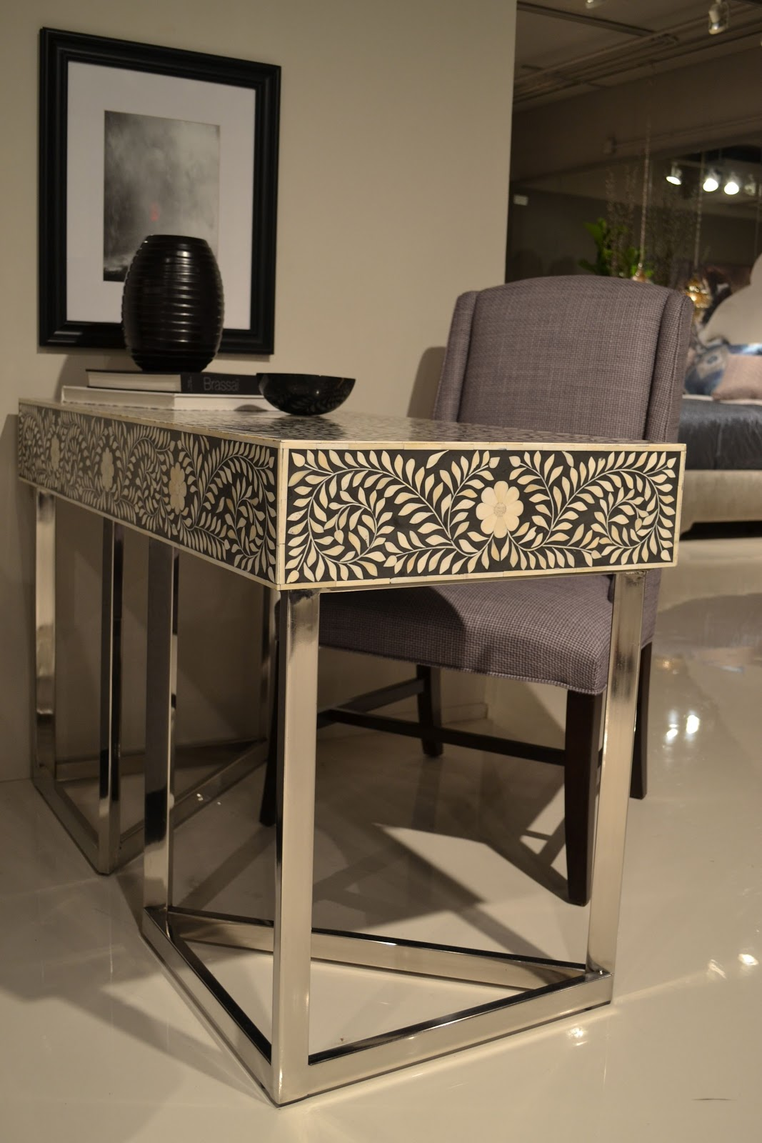 Inlaid Bone Desk With Chrome