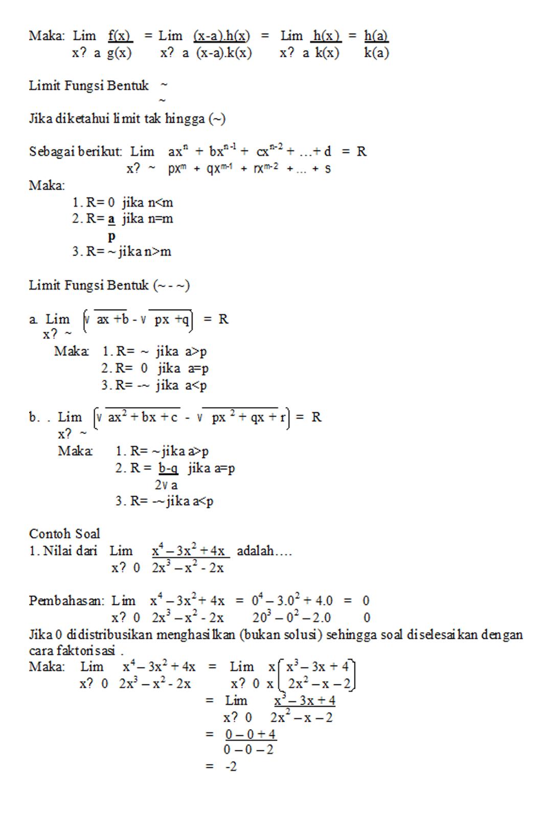 Materi Dan Soal Soal Un Limit Fungsi Tingkat Sma Kelas 3 Belajaryuk