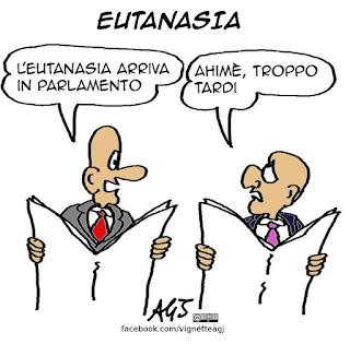 eutanasia, diritti civili, parlamento, vignetta satira
