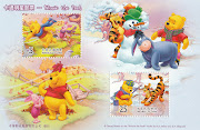 Pooh and Piglet playing in the autumn. Fishing with Tigger