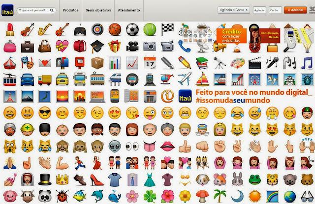 Home Page banco Itaú com emoji