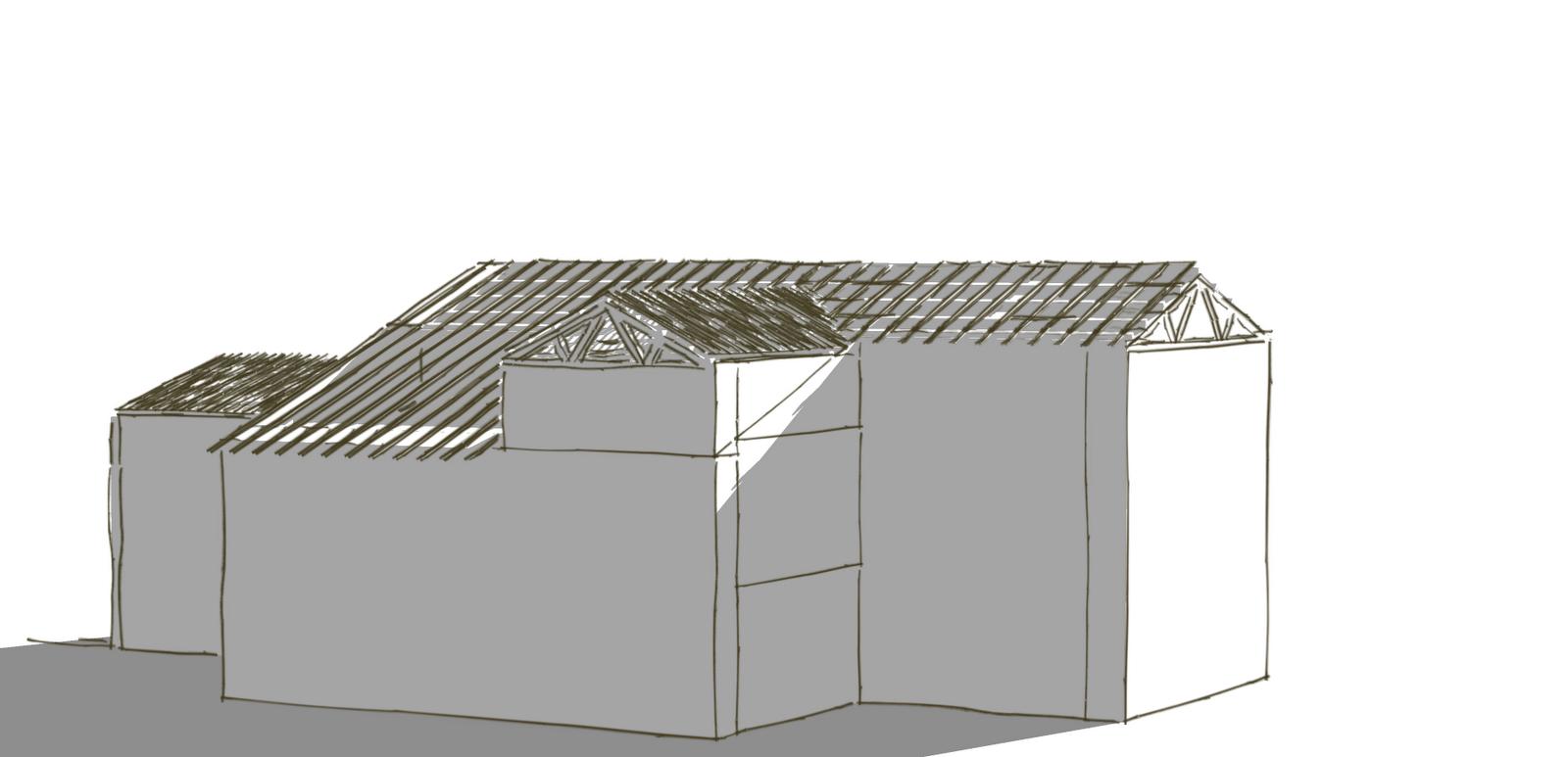 plan de maison en v avec tour