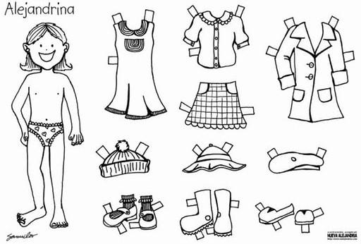 Dibujos de muñecas para colorear y vestir - Imagui
